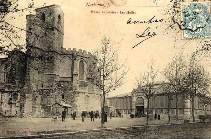 facade arriere exterieure halles de Narbonne vers 1910 D