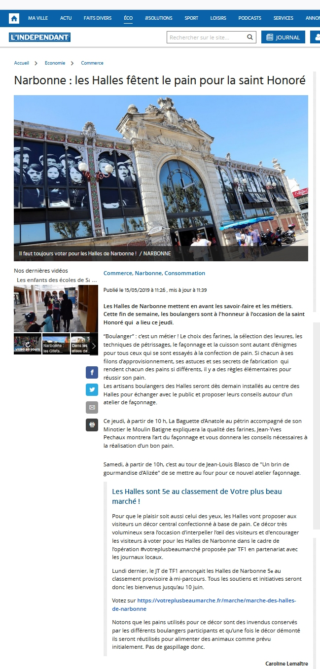 fete_du_pain_boulangers_plus_beau_marche_de_france_TF1_2019_halles_narbonne_independant