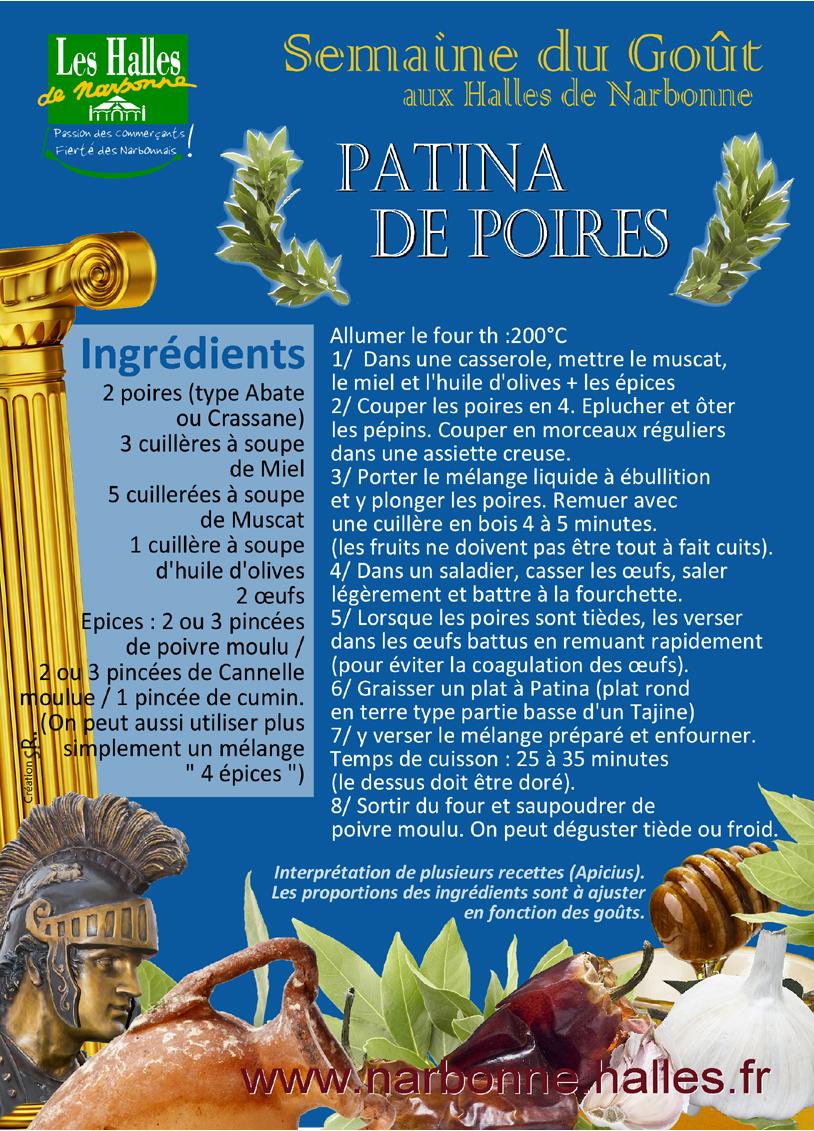 les_halles_de_narbonne_recette__romaine_patina_de_poires_apicius_semaine_du_gout_2013